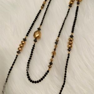 Jewelry - Black and Gold Lariat Necklace